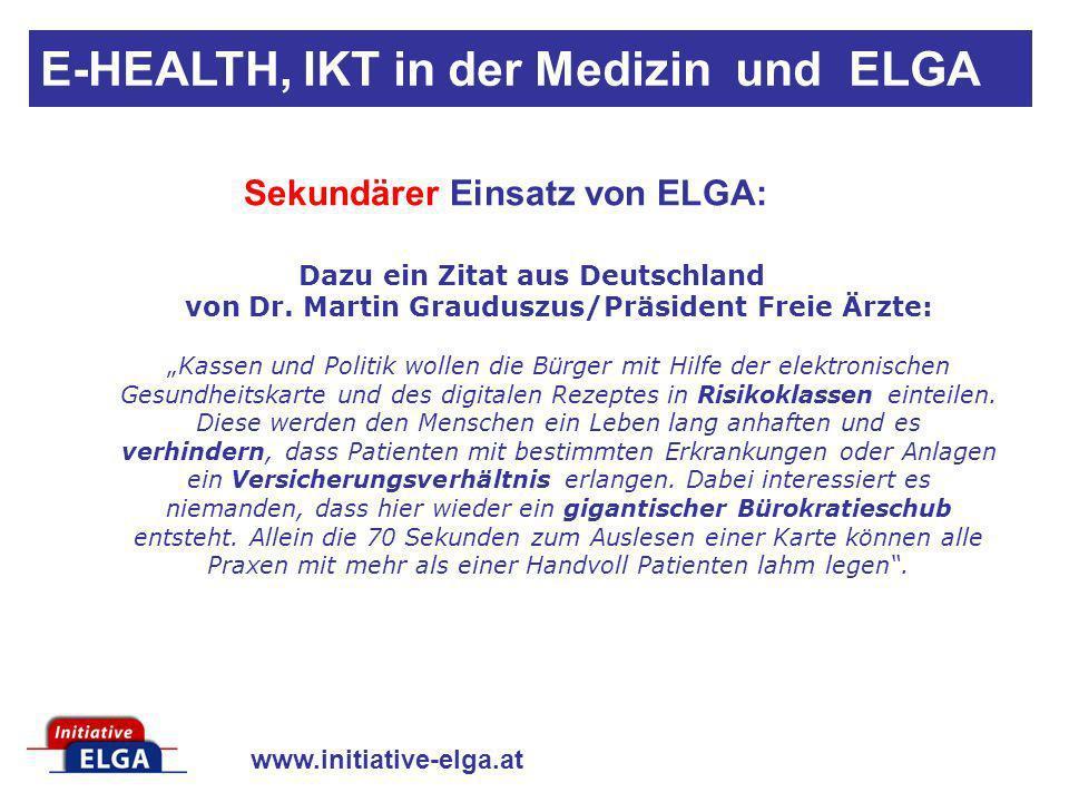 Sekundärer Einsatz von ELGA: