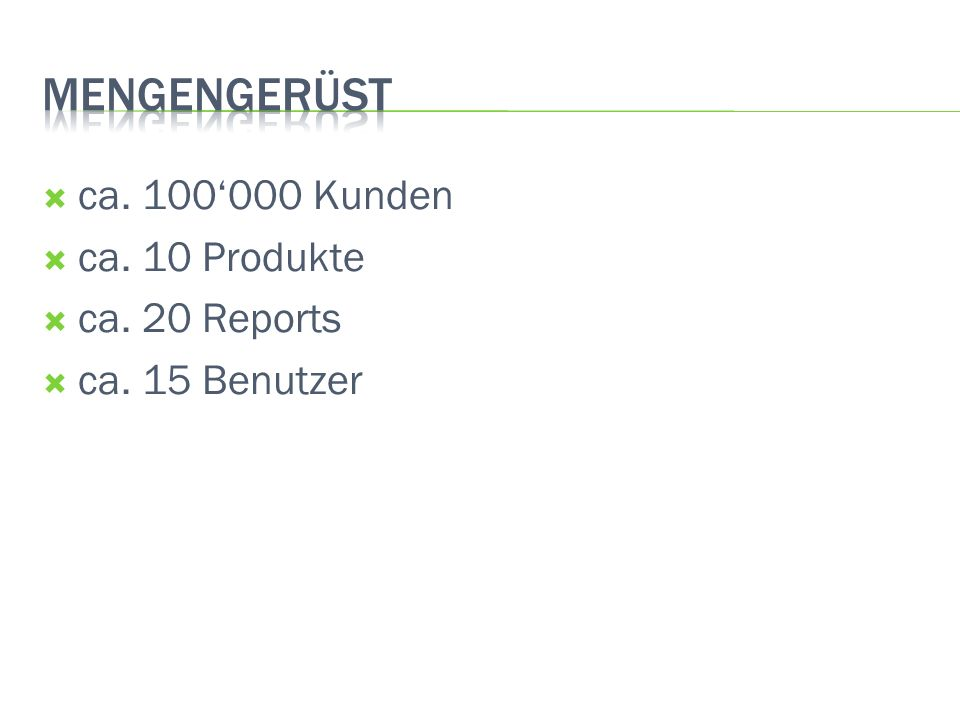 Mengengerüst ca. 100'000 Kunden ca. 10 Produkte ca. 20 Reports