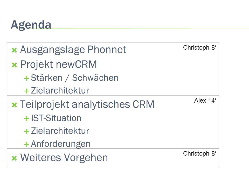 Agenda Ausgangslage Phonnet Projekt newCRM