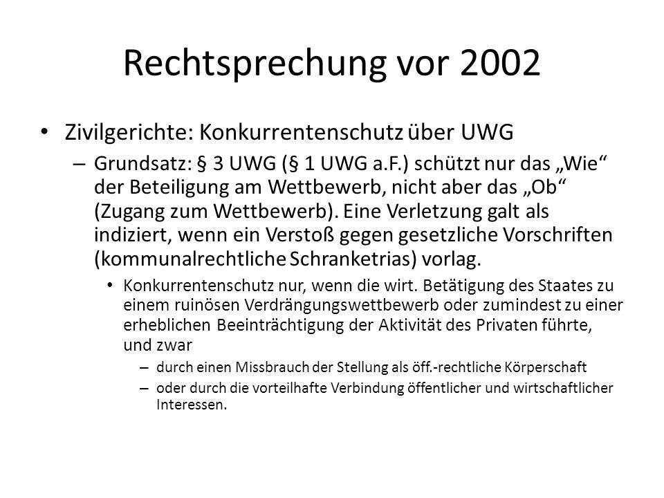 Rechtsprechung vor 2002 Zivilgerichte: Konkurrentenschutz über UWG