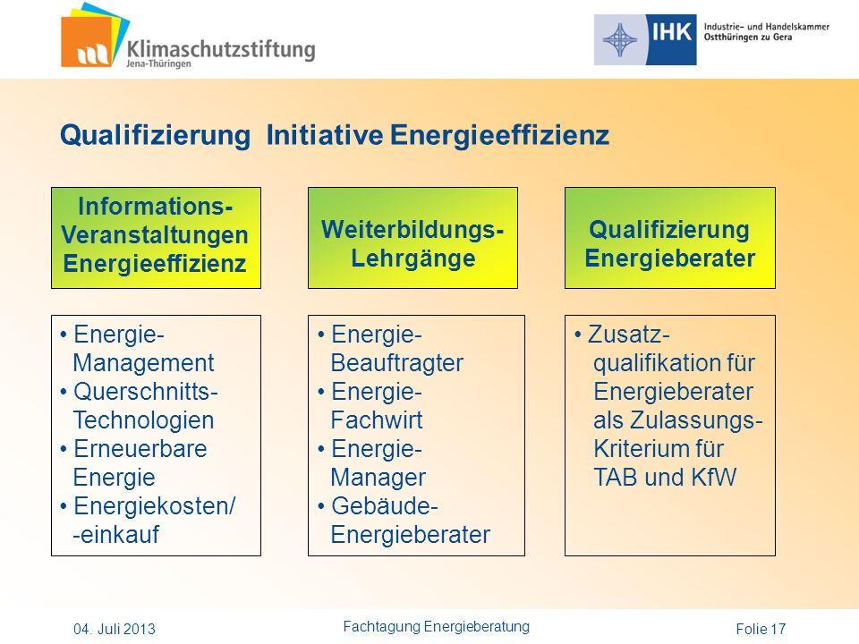 Qualifizierung Initiative Energieeffizienz