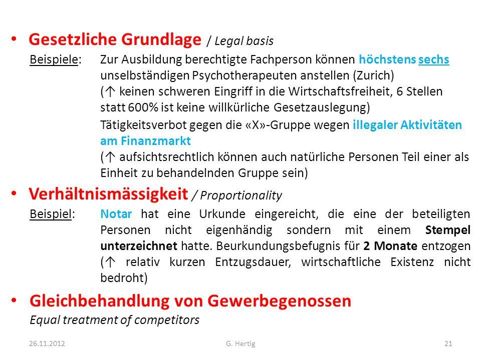 Gesetzliche Grundlage / Legal basis