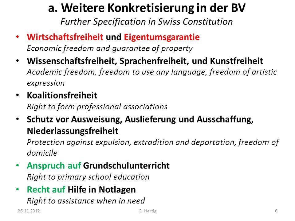 a. Weitere Konkretisierung in der BV Further Specification in Swiss Constitution