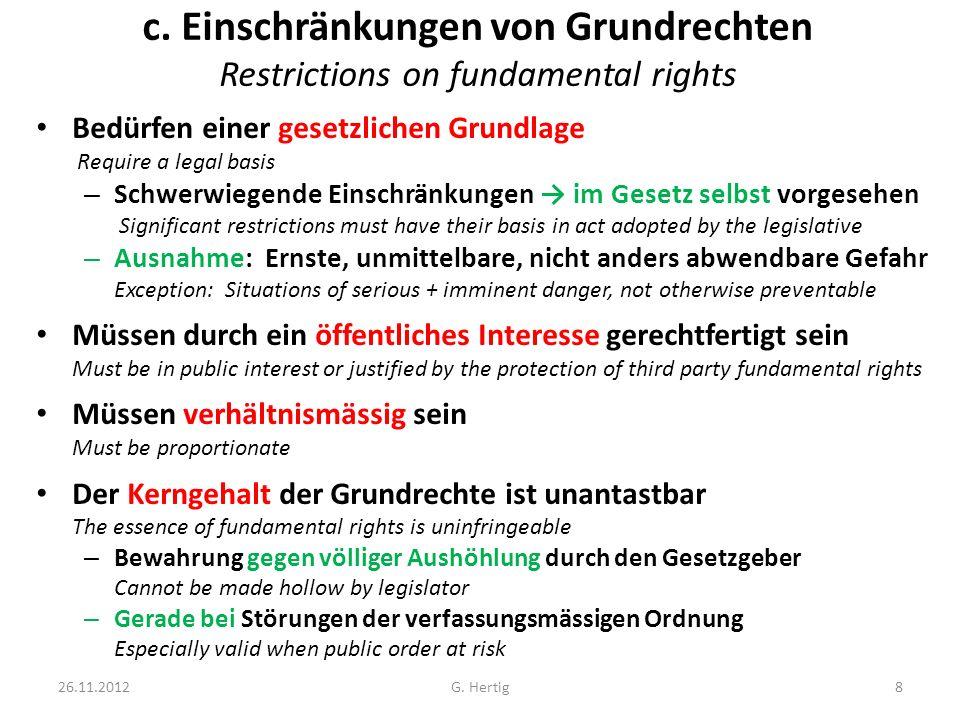 c. Einschränkungen von Grundrechten Restrictions on fundamental rights