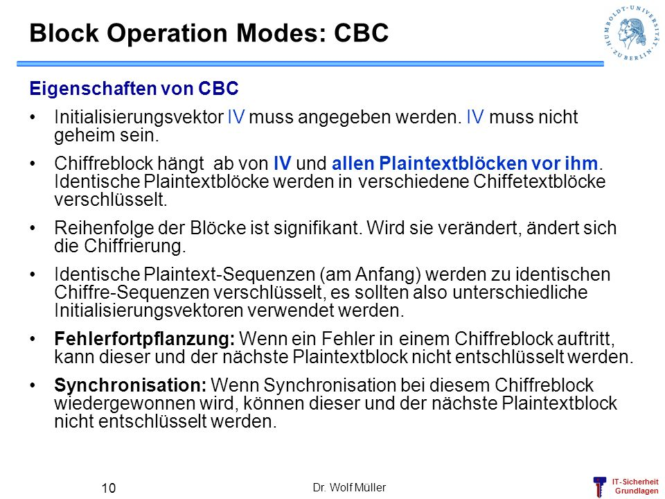 Block Operation Modes: CBC