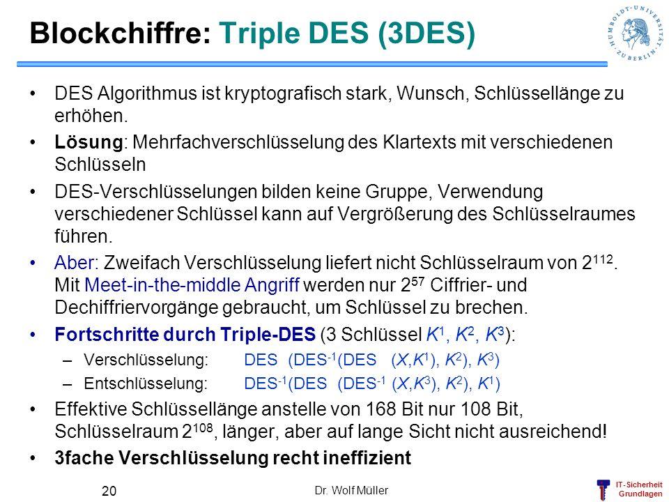 Blockchiffre: Triple DES (3DES)
