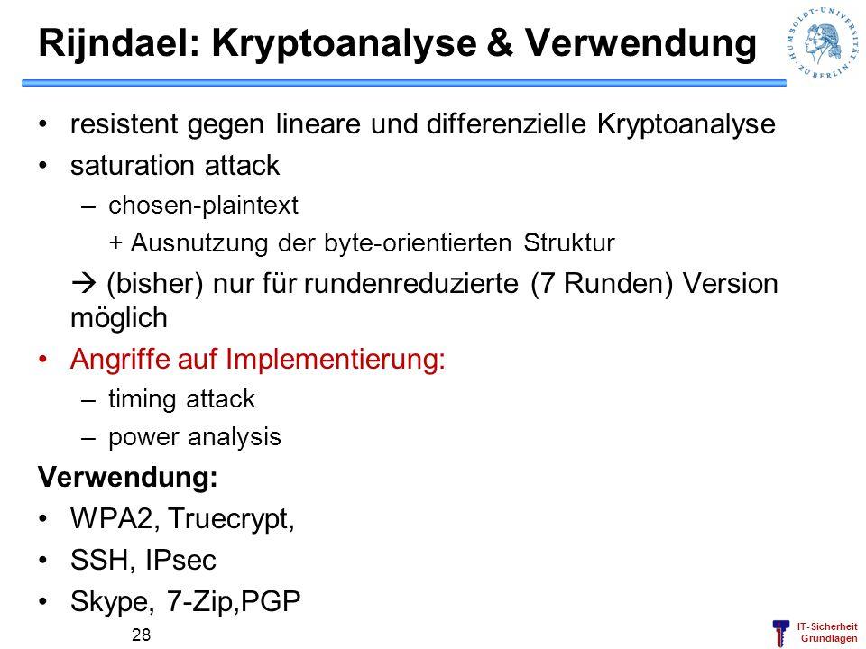 Rijndael: Kryptoanalyse & Verwendung