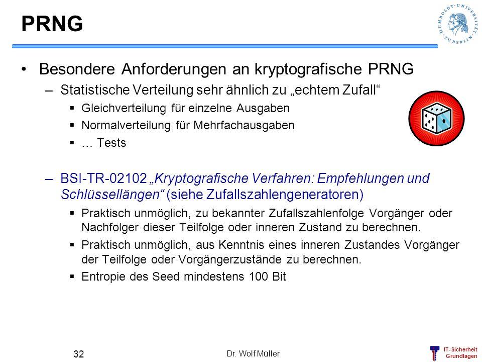 PRNG Besondere Anforderungen an kryptografische PRNG