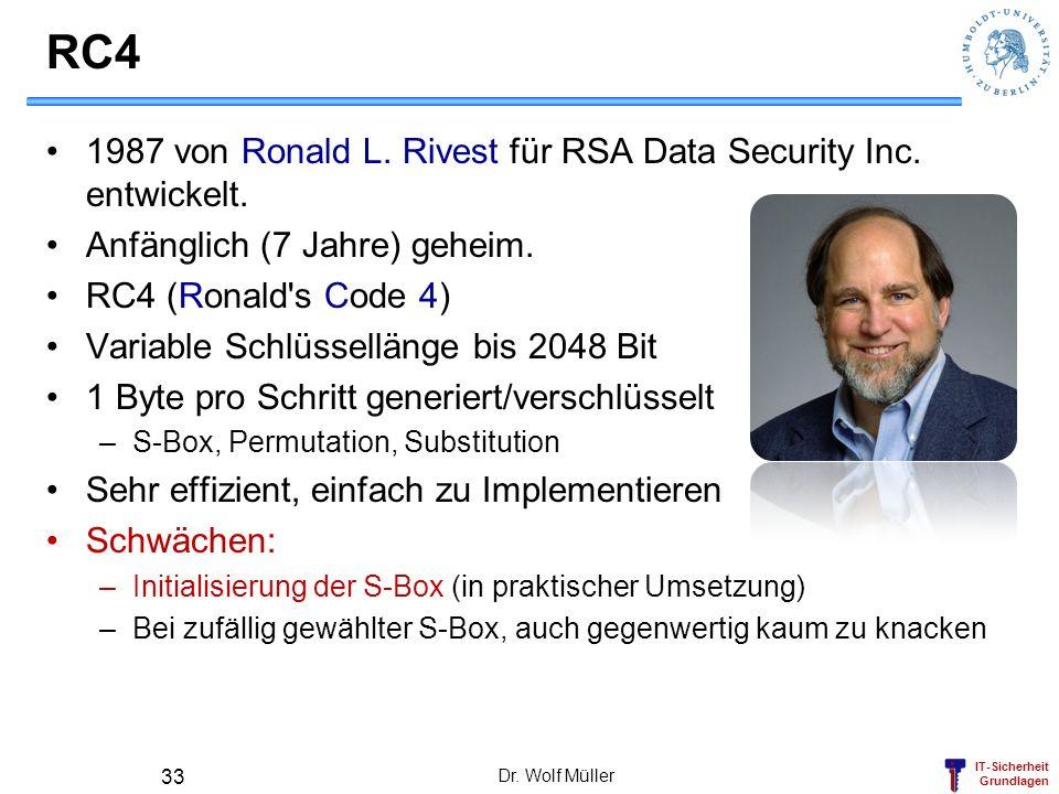 RC4 1987 von Ronald L. Rivest für RSA Data Security Inc. entwickelt.