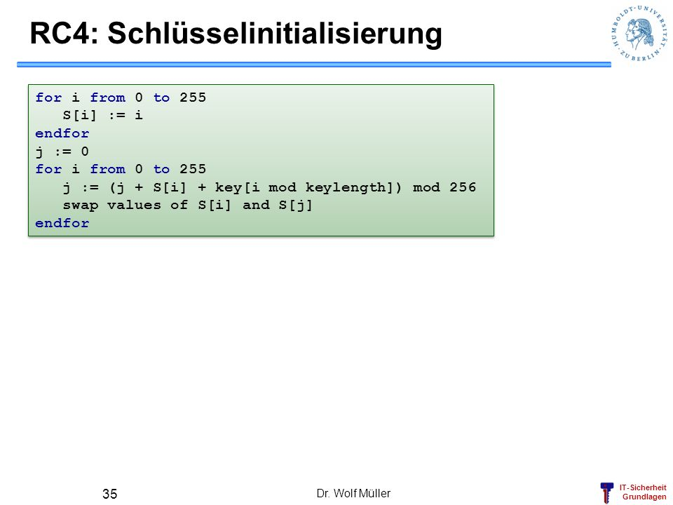 RC4: Schlüsselinitialisierung
