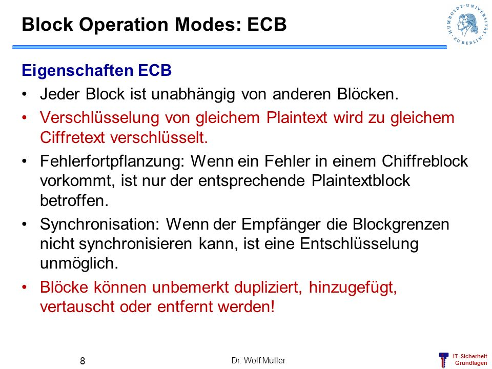 Block Operation Modes: ECB