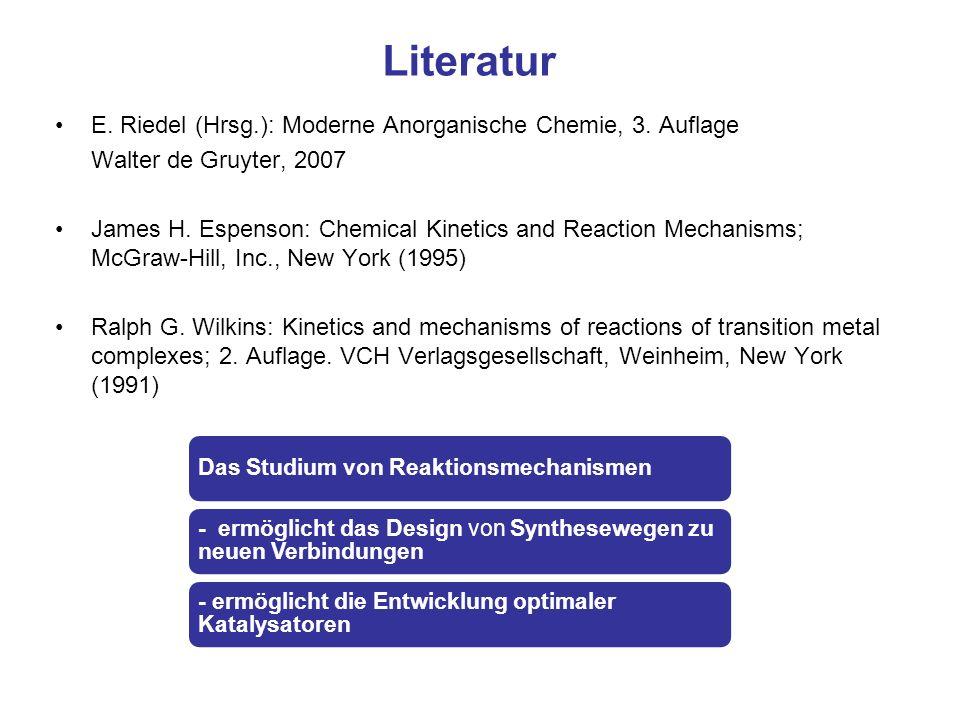 Literatur E. Riedel (Hrsg.): Moderne Anorganische Chemie, 3. Auflage