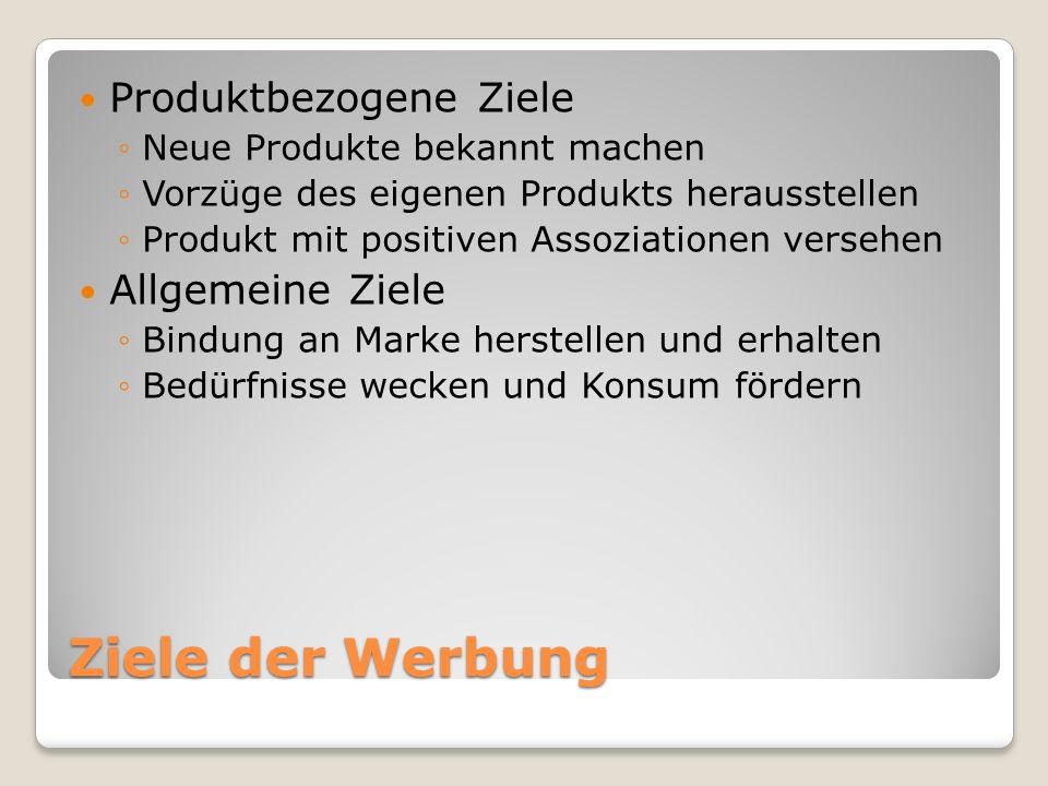 Ziele der Werbung Produktbezogene Ziele Allgemeine Ziele
