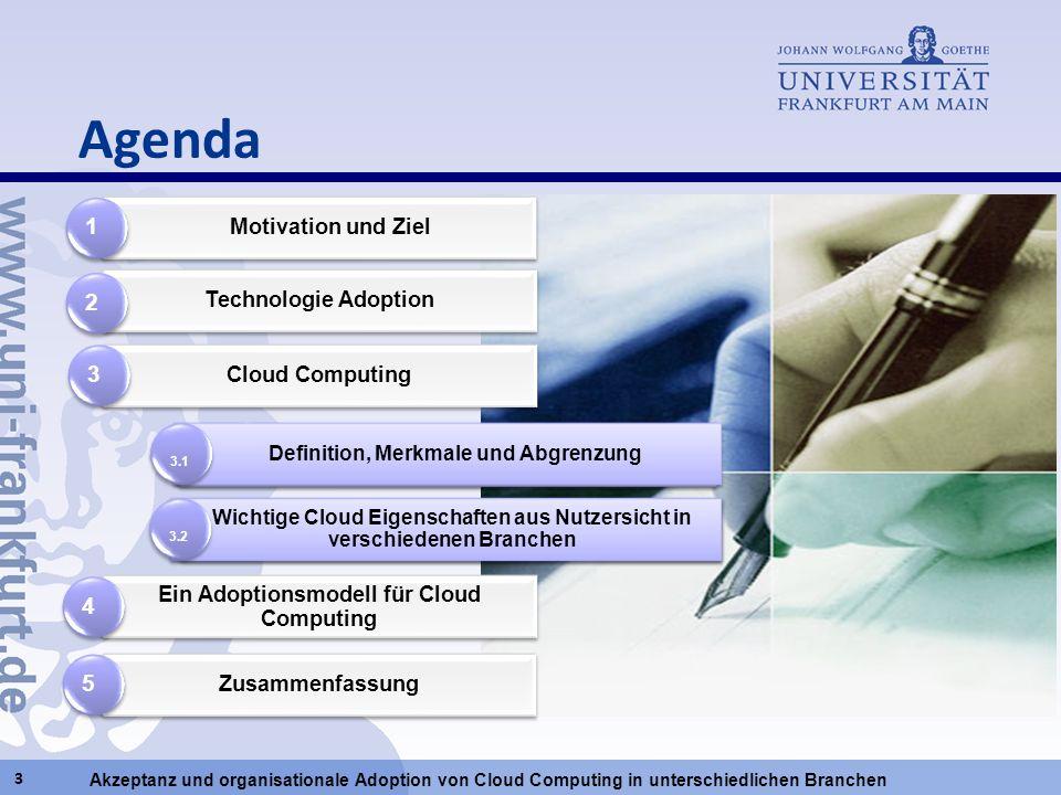 Agenda 1 2 3 4 5 Motivation und Ziel Technologie Adoption