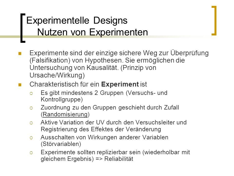 Experimentelle Designs Nutzen von Experimenten