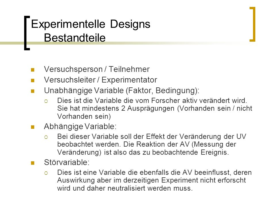 Experimentelle Designs Bestandteile