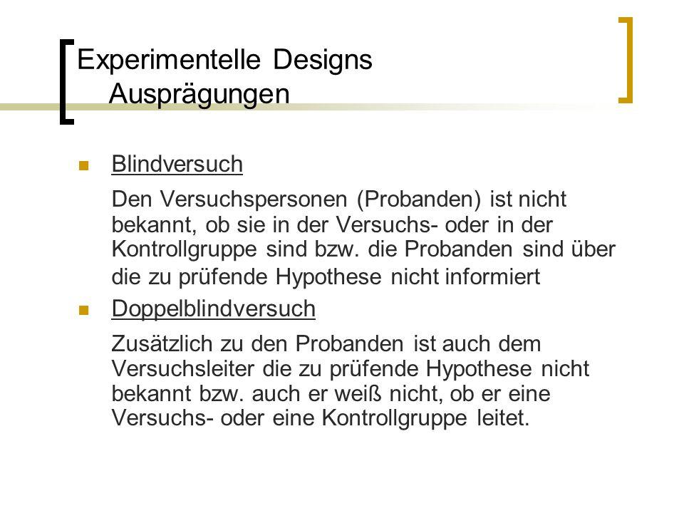 Experimentelle Designs Ausprägungen