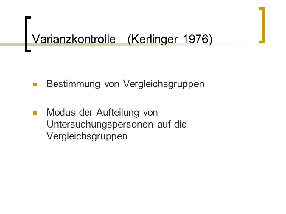 Varianzkontrolle (Kerlinger 1976)