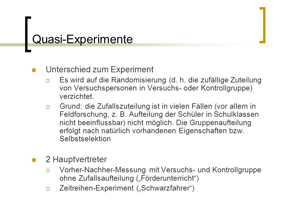 Quasi-Experimente Unterschied zum Experiment 2 Hauptvertreter