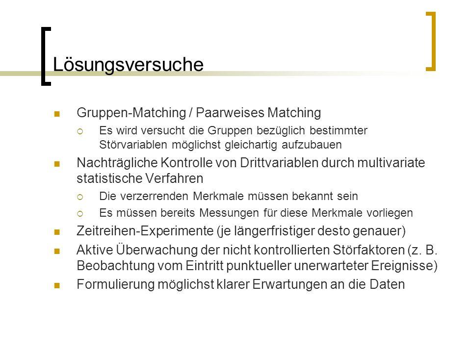Lösungsversuche Gruppen-Matching / Paarweises Matching