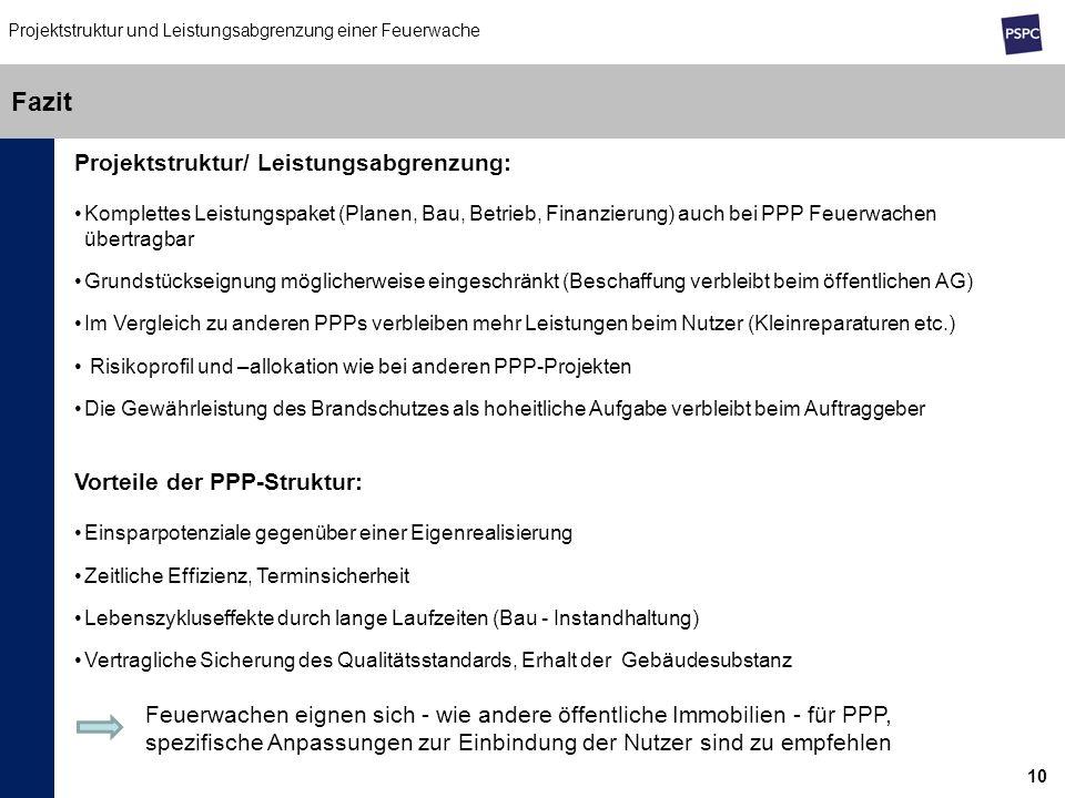 Fazit Projektstruktur/ Leistungsabgrenzung: Vorteile der PPP-Struktur: