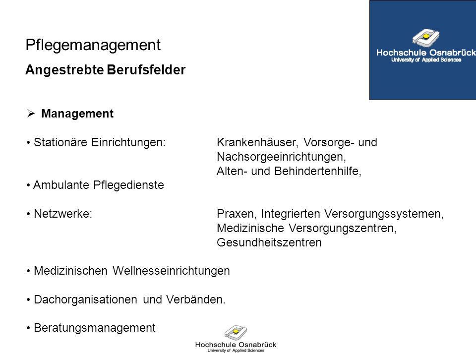 Pflegemanagement Angestrebte Berufsfelder Management