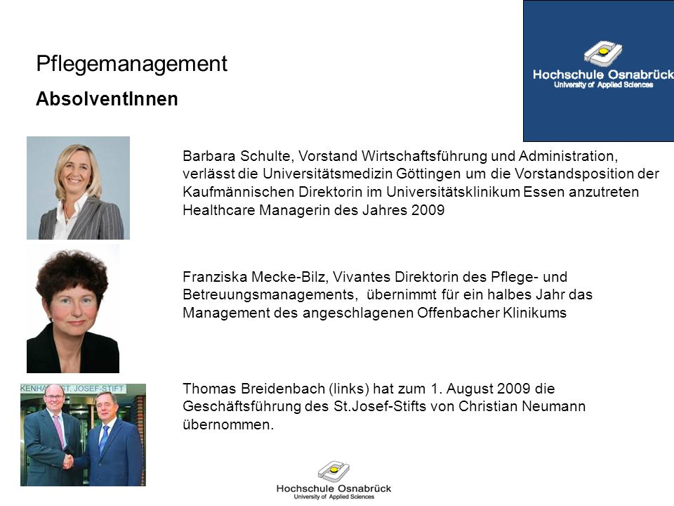 Pflegemanagement AbsolventInnen