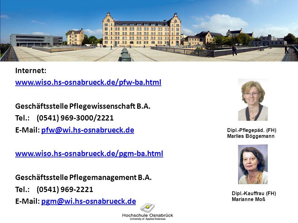 Geschäftsstelle Pflegewissenschaft B.A. Tel.: (0541) 969-3000/2221