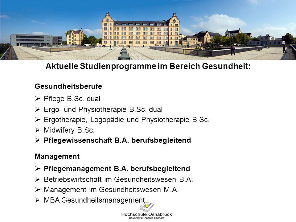Aktuelle Studienprogramme im Bereich Gesundheit: