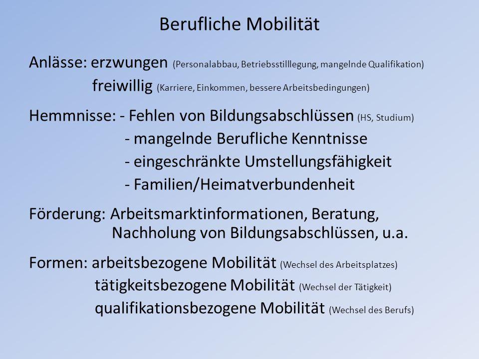Berufliche Mobilität Anlässe: erzwungen (Personalabbau, Betriebsstilllegung, mangelnde Qualifikation)