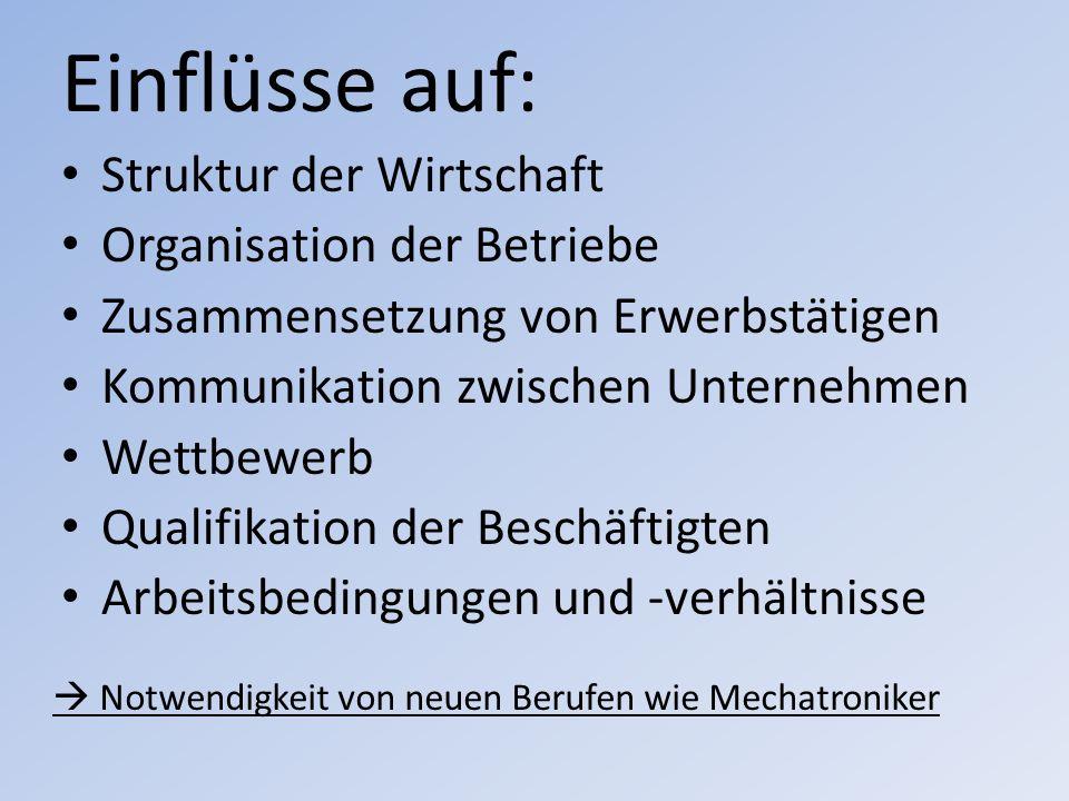 Einflüsse auf: Struktur der Wirtschaft Organisation der Betriebe