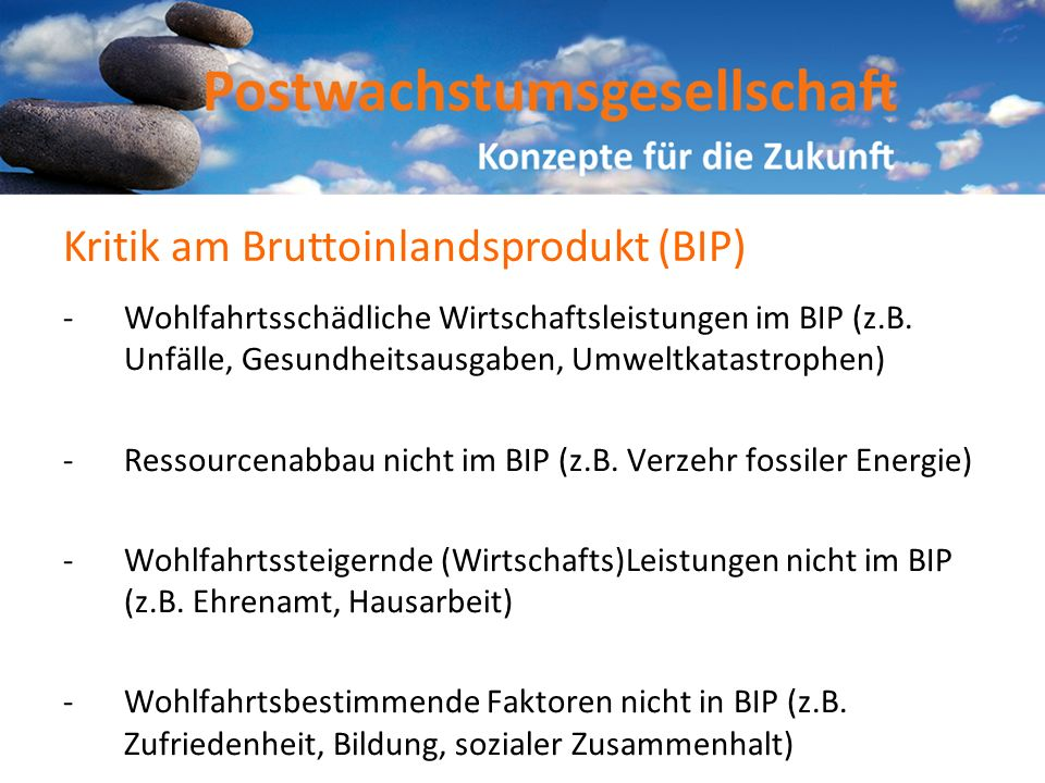 Kritik am Bruttoinlandsprodukt (BIP)