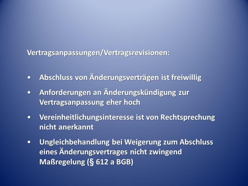 Vertragsanpassungen/Vertragsrevisionen: