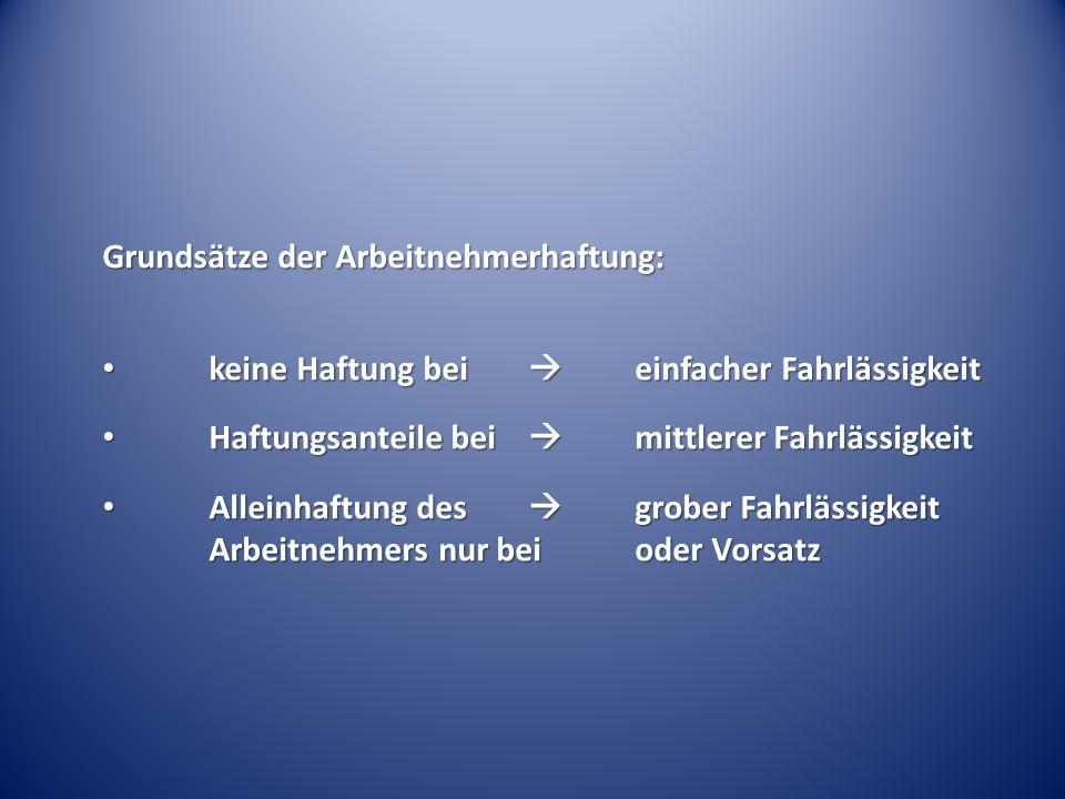 Grundsätze der Arbeitnehmerhaftung: