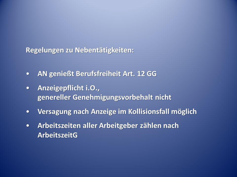 Regelungen zu Nebentätigkeiten:
