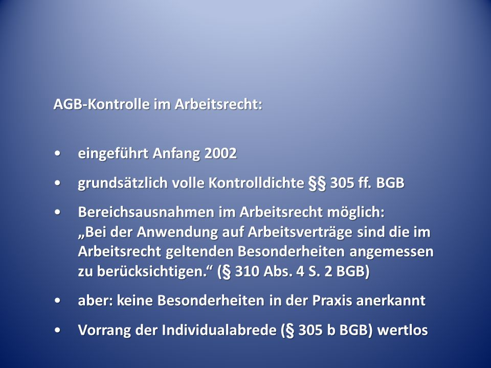 AGB-Kontrolle im Arbeitsrecht:
