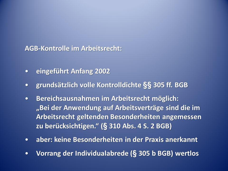 AGB-Kontrolle im Arbeitsrecht: