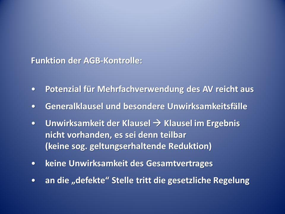 Funktion der AGB-Kontrolle: