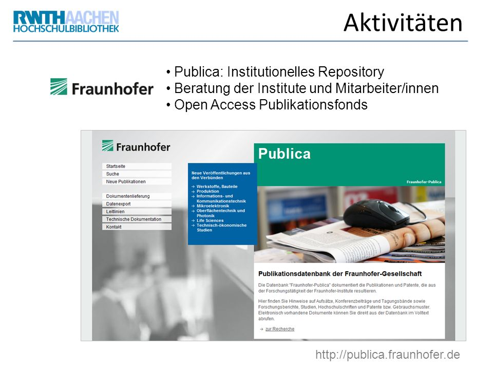 Aktivitäten Publica: Institutionelles Repository