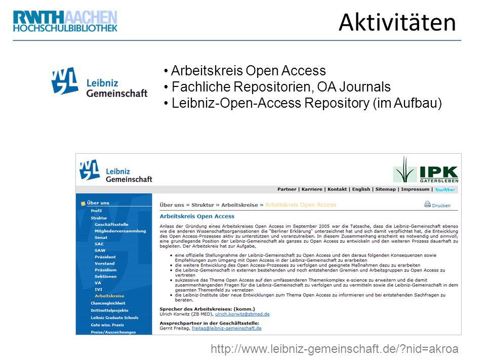 Aktivitäten Arbeitskreis Open Access