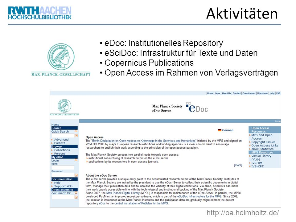 Aktivitäten eDoc: Institutionelles Repository