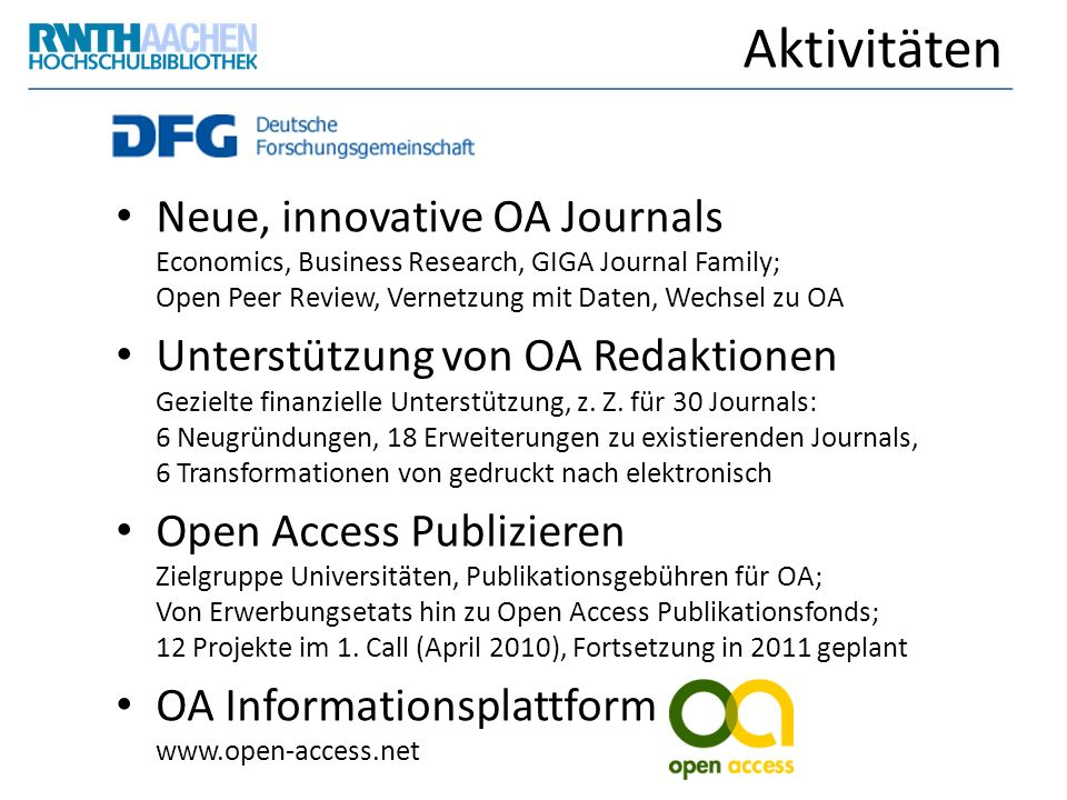 Aktivitäten Neue, innovative OA Journals Economics, Business Research, GIGA Journal Family; Open Peer Review, Vernetzung mit Daten, Wechsel zu OA.