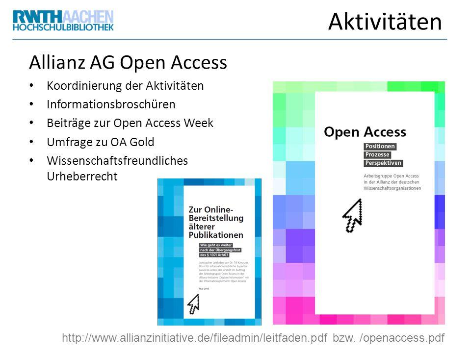 Aktivitäten Allianz AG Open Access Koordinierung der Aktivitäten