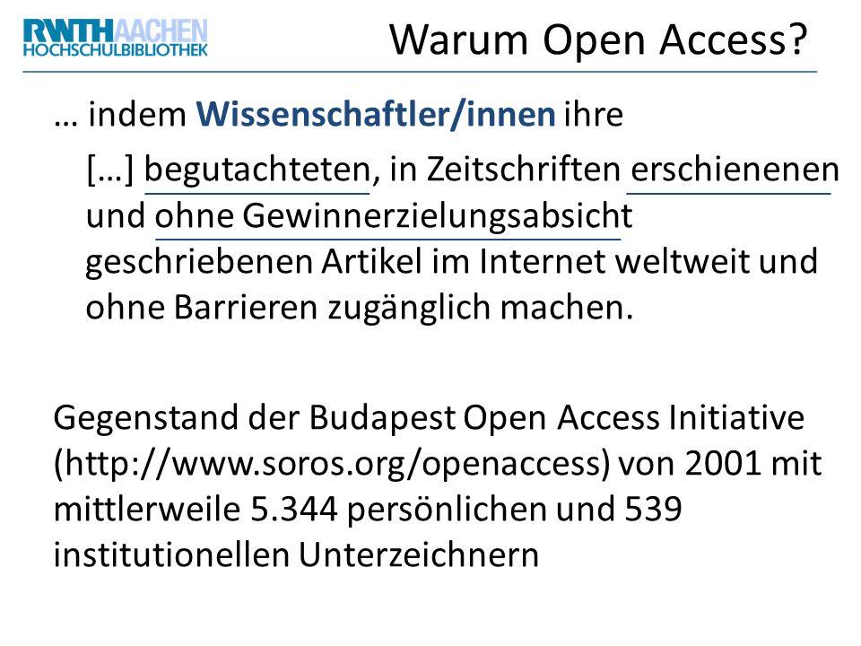 Warum Open Access