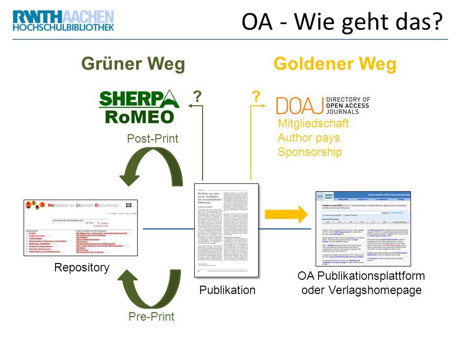 OA Publikationsplattform oder Verlagshomepage