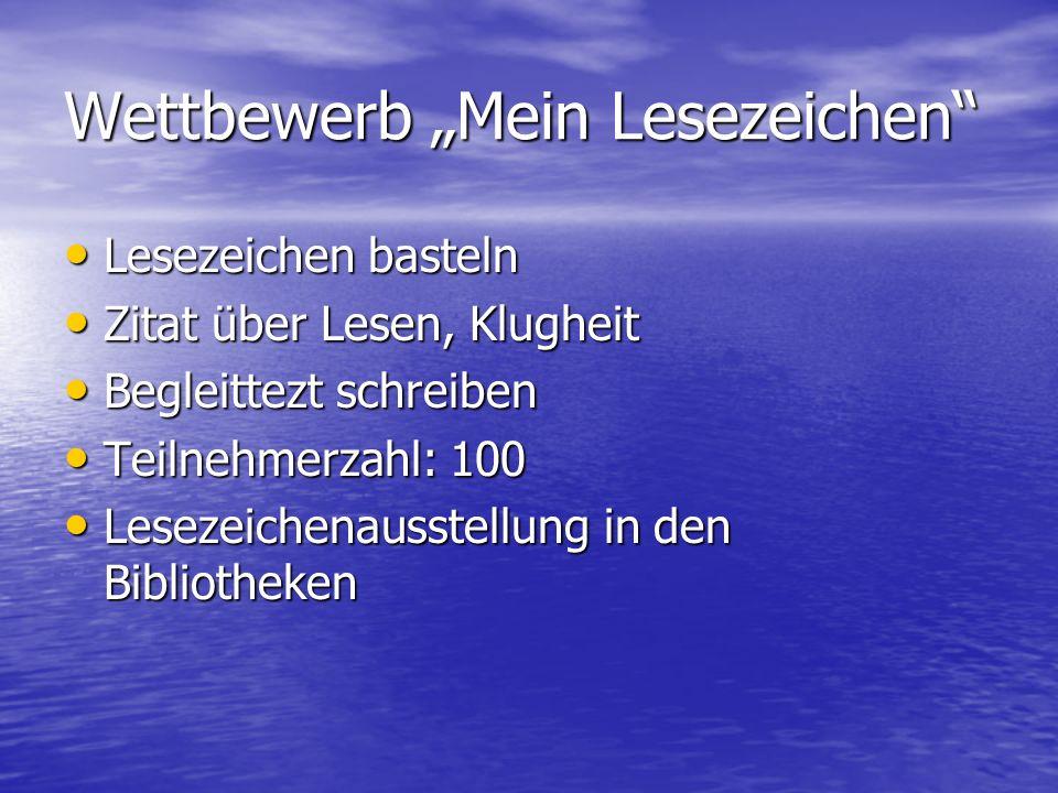 """Wettbewerb """"Mein Lesezeichen"""