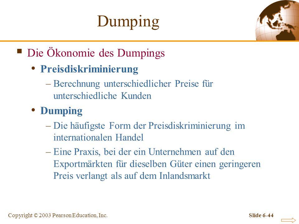 Dumping Die Ökonomie des Dumpings Preisdiskriminierung Dumping