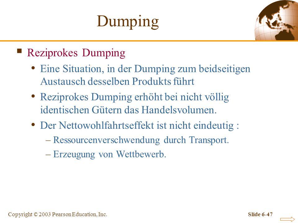 Dumping Reziprokes Dumping