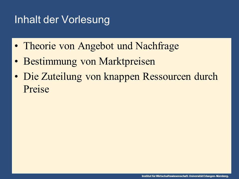Inhalt der Vorlesung Theorie von Angebot und Nachfrage.