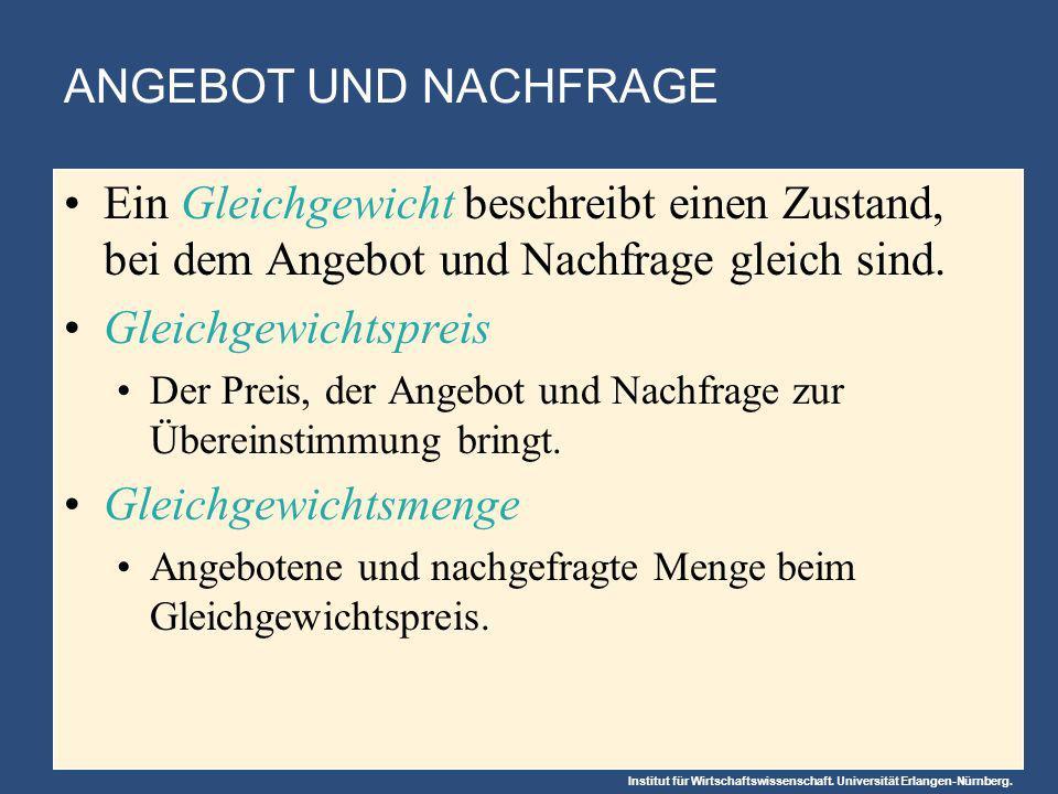 ANGEBOT UND NACHFRAGE Ein Gleichgewicht beschreibt einen Zustand, bei dem Angebot und Nachfrage gleich sind.